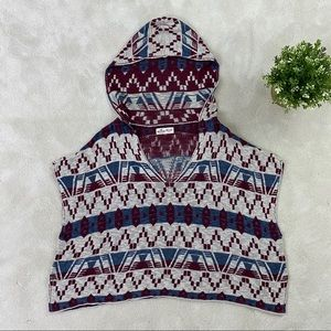 HOLLISTER Womens One Size Hooded Poncho Aztec Top